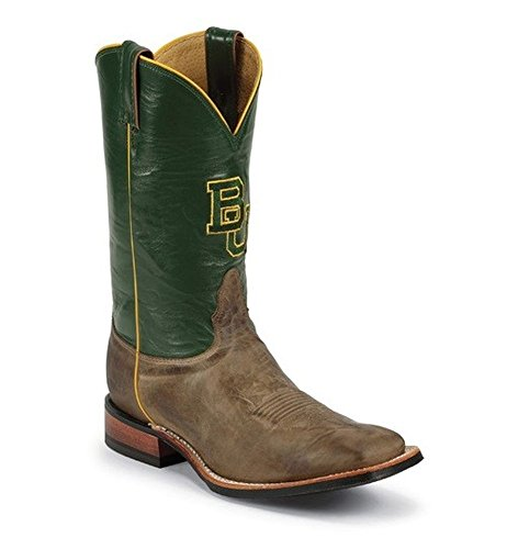 Nocona College Mens Baylor University Cowboy Boot Square Toe Tan 9.5 Ee Noi