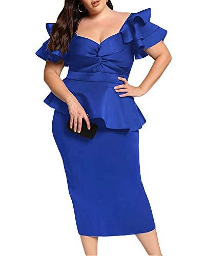 d0f08b38a492 Lalagen Womens Plus Size Ruffle Sleeve Peplum Cocktail Party Pencil Midi  Dress Blue XL