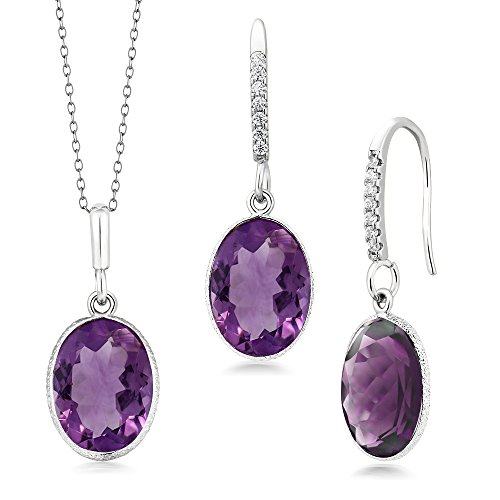 (15.00 Ct Purple Amethyst 10x14mm Oval Silver Pendant and Earrings Set 18