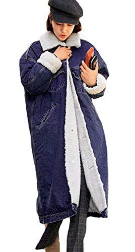 Hot Addensare Glamorous Relaxed Invernali Eleganti Donna Lunga Maniche Dunkelblau Giacca Tempo Lunghe Libero Streetwear Giaccone Jeans Semplice Giubotto Bavero Outerwear Fashion fWw1PXfqA