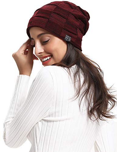 Beanie Knit Hat Warm Slouchy Skull Beanies Cap Women & Men & Kids (red)