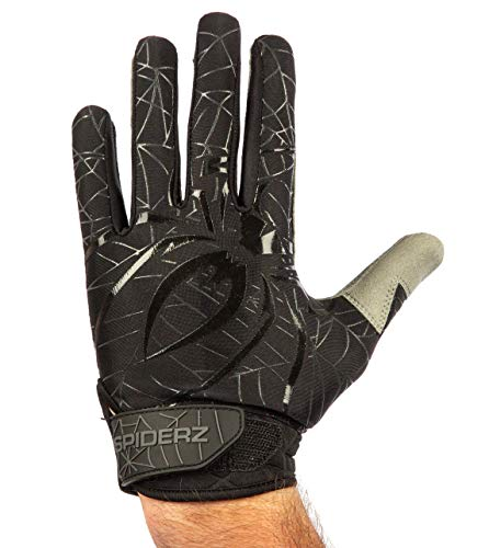 Spiderz LITE Adult Baseball/Softball Batting Gloves (Black/Charcoal, Large)