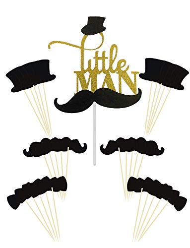 Joyclub GOLD Little MAN Cake Topper Mini Mustache Hat Bowtie Cupcake Picks For Baby Shower Birthday Party Decorations Supplies(31 pack) -