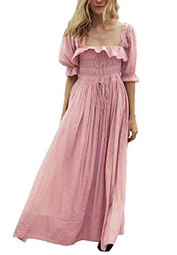 R.Vivimos Women Summer Half Sleeve Cotton Ruffled Vintage Elegant Backless A Line Flowy Long Dresses (Medium, Pink)
