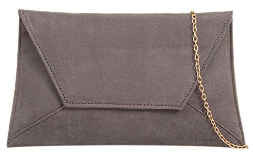 Girly HandBags Plain Suede Clutch Bag Grey