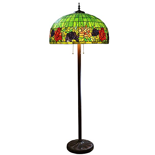 Floral Stained Glass Floor Lamp - Warehouse of Tiffany 1440+BB102 3 Light Zocha Floor Lamp with Floral Stained Glass 3, 26.5
