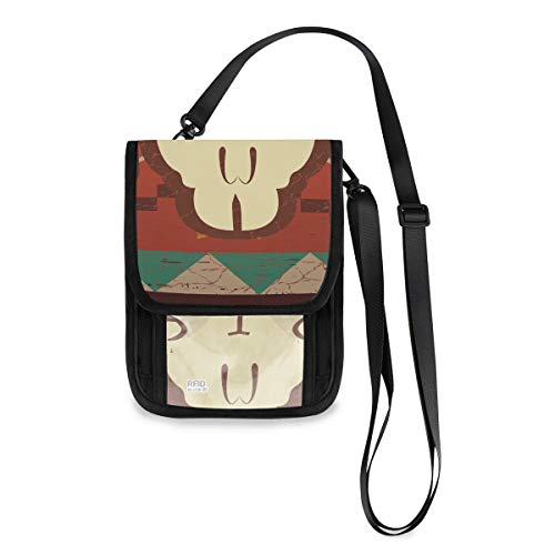 Ethnic Native American Design Bull Skull Travel Security Pouch Custom Lightweight Best Neck Wallet With A Long Strap Passport Holder For Teens Passport Wallets For Women (Neck Pouch Native American)
