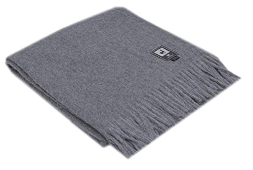 Superfine Natural Alpaca Yarn & Merino Wool Woven Blanket Fringed Throw (Gray)