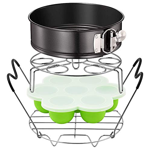 ASBYFR Pressure Cooker Accessories Fits 6qt 8qt Instapot, 6.5 & 8qt Ninja Foodi, Other Mullti Cookers - Accessories with Egg Bites Molds, Springform Pan, Steamer Rack with Handles and Egg Rack