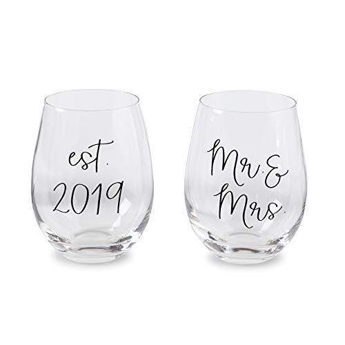 Mud Pie 44600021 Established 2019 Mrs Wedding Wine Glass Set, One Size, -
