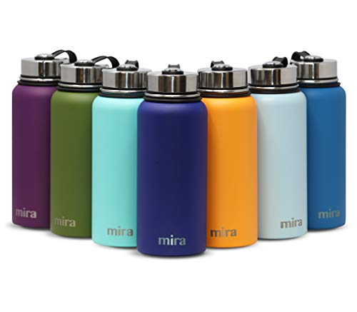Pack Free Hydration Bottle (MIRA 32 Oz Stainless Steel Vacuum Insulated Wide Mouth Water Bottle | Thermos Keeps Cold for 24 Hours, Hot for 12 Hours | Double Wall Powder Coated Travel Flask | Blue)
