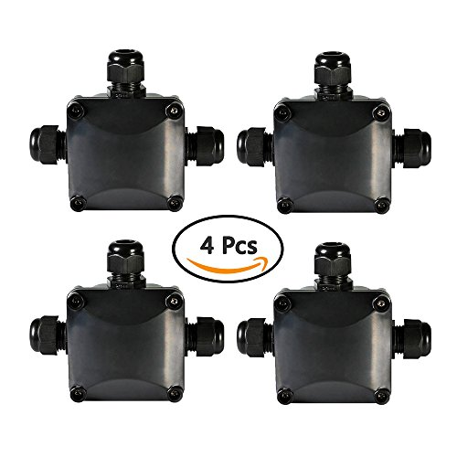 ATPWONZ Junction Box IP68 Waterproof 3 Way PG11 Cable Connectors Outdoor / External Plastic Protection Connector Pack of 4 Junction Connector