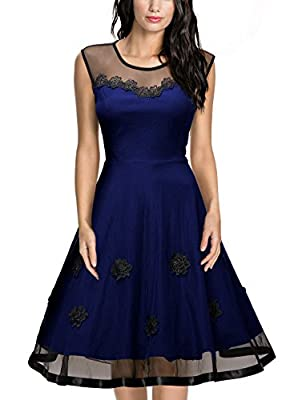 Miusol Women's Elegant Illusion Floral Lace Cap Sleeve Bridesmaid Prom Dress