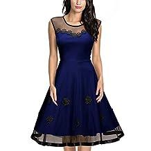 Miusol Women's Elegant Illusion Floral Lace Cap Sleeve Bridesmaid Prom Dress (3267)