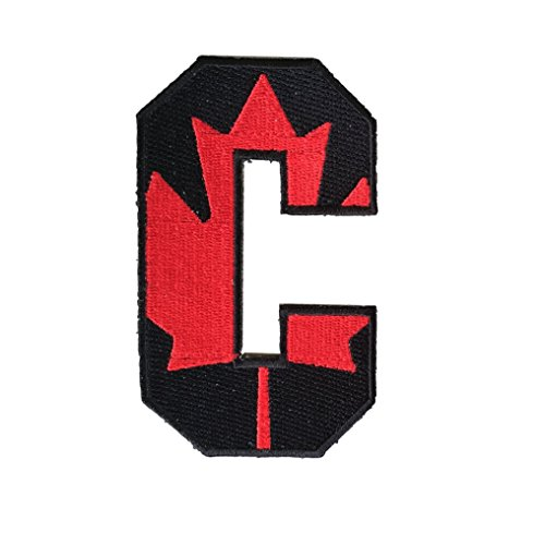 Hockey Style Patch Black CANADIAN CANADA C Patch (Captain) Iron On for Jersey Football, Baseball. Soccer, Hockey, Lacrosse, Basketball