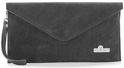 Lining Grey Bag Leah Italian Leather Evening Envelope Cotton Suede LiaTalia Clutch Dark 8qOYPnw