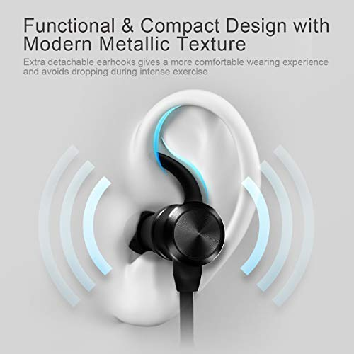 Magnetic Bluetooth 5.0 Headphones Earbuds, iTeknic Wireless Sports Earphones Neckband, 24 HRS Playing Time in Ear Stereo Sound, Hands-Free Call for MP3 Android IOS Smartphone