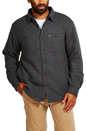 - Coleman Flannel Sherpa Shirt Jacket (Large, Charcoal Heather)
