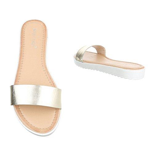 Ital-Design Pantoletten Damenschuhe Jazz & Modern Leichte Sandalen/Sandaletten Gold T165