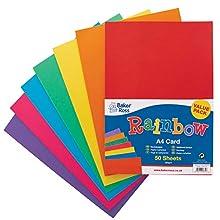 Baker Ross Cartulina (tamaño A4, 20 g/m², 50 Unidades), Color arcoíris, Multicolor (AV535)