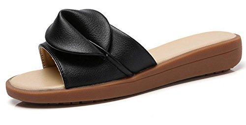 sandalias y los deslizadores de pendiente femenino de la manera del verano con los zapatos de fondo grueso arrastran la palabra Black