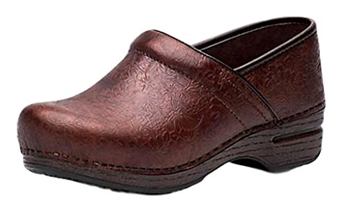 Dansko New Professional Brown Floral Embossed 39/8.5-9 Womens Shoes -