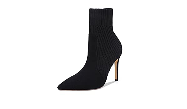 b8fb1379aa2 onlymaker Women s Knitted Stretch Sock Booties Pointed Toe Pull On High Top  Ankle Boots Black 14 M US  Amazon.ca  Shoes   Handbags