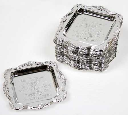 Small, Elegant & Reusable Silver Plastic Hors D'oevres Trays Perfect for Weddings, Parties and Even Everyday- 36 Trays Measures 3'' x 3'' by Unknown (Image #2)