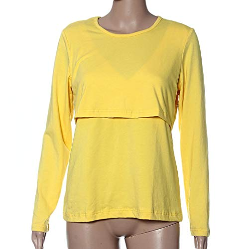 Maternity Ropa L T Vestido Tops Sleeve Amarillo Amphia Shirt Nursing Embarazadas Long Clothes Breastfeeding Pregnant qRaIg