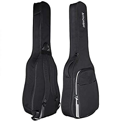 DRHOUSE Acoustic Guitar Case 40 41 42 Inch [Water-resistant Exterior, 10mm Padded, Lightweight] Classical Folk Gig Bag Black