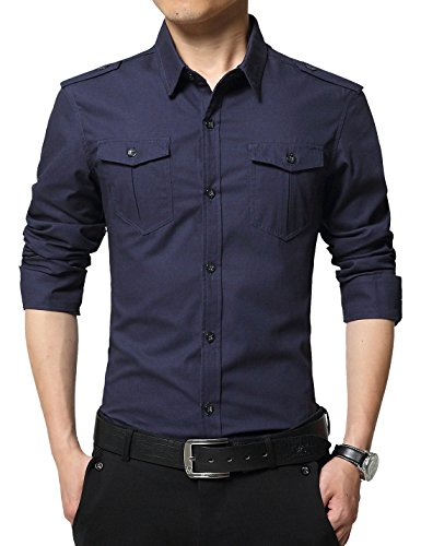 XTAPAN Men's Long Sleeve Casual Slim Fit Button Down Dress Shirt with Two Pockets Deep Blue 2XL 6620