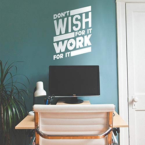 """Vinyl Wall Art Decal - Don't Wish for It Work for It - 26"""" x 19"""" - Modern Workout Quotes for Home Gym Fitness Health - Motivational Positive Lifestyle Locker Room Quotes Decor (26"""" x 19"""", White)"""