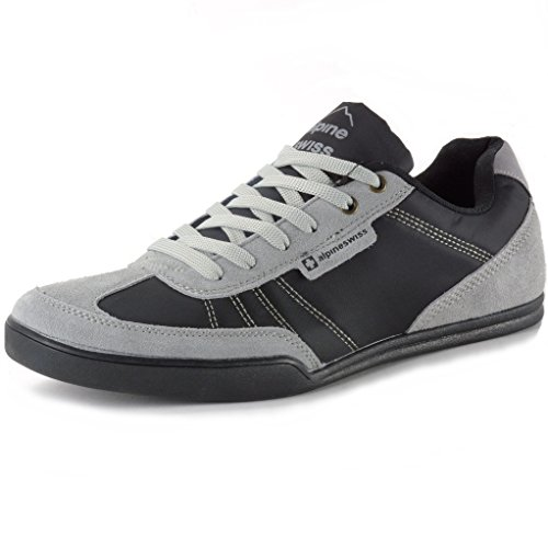 alpine swiss Marco Men's Suede Trim Retro Fashion Tennis Shoes Black 11 M US