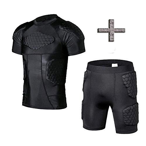 TOUYR Men's Padded Compression Shirt and Pants Training Vest Sleeveless T-Shirt and Short Set Ribs Back Thighs and Buttocks Elbow Knee Protector - Football Soccer Basketball Hockey Protective Gear ()