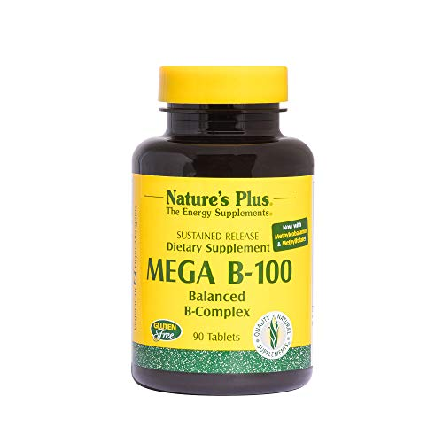 NaturesPlus Mega B100 Complex, Sustained Release - 90 Vegetarian Tablets - High Potency B Complex Vitamin Supplement, Energy & Brain Booster, Stress Reliever - Gluten-Free - 90 -