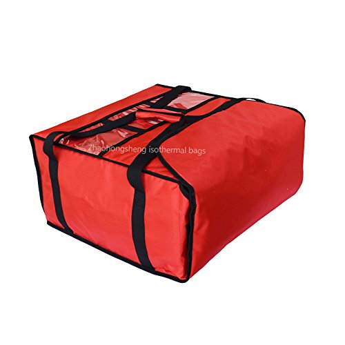 Red Polyester Insulated Pizza / Food Delivery Bag 16″ - 18″ Professional Large Pizza Delivery Bag- Moisture Free