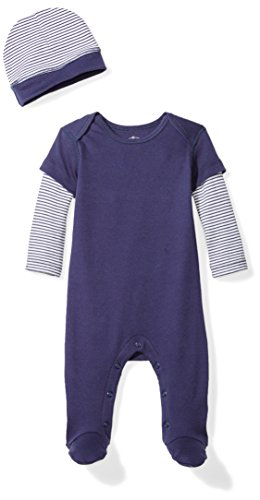 Moon and Back Baby Organic Double-Sleeve One-Piece Coveralls with Cap Set, Navy Sea, Newborn