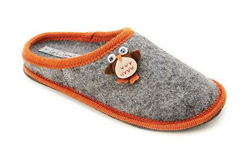 Le aus Nuvola Farbe ausziehbarer Eulen und Wollstoff Clare Winter Einlegesohle mit Gufo Hellgrau Orange Herren Applikation Hausschuh rArwq