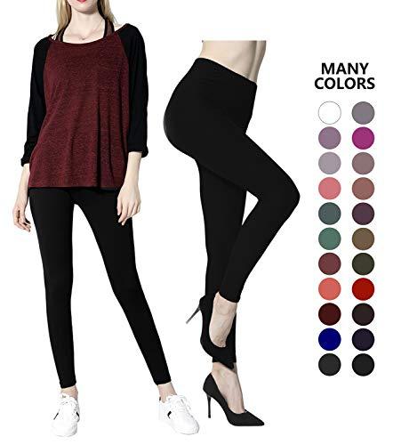 Diravo Womens Basic Leggings Pants Stretch Yoga Pants Slim Leggings Regular Size Black