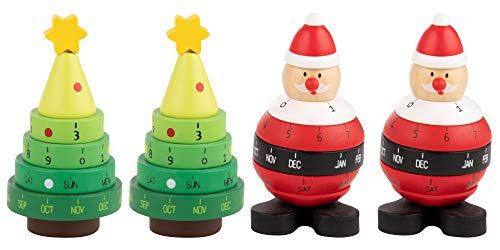 Christmas Perpetual Wooden Calendar - 4-Pack Mini Holiday Desk Rotating Calendar, Santa Claus and Christmas Tree Designs, Ideal Christmas, Secret Santa Gift, 1.9 x 3.7 x 1.9 Inches