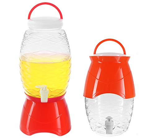 (Plastic Beverage Dispenser with Stand & Spigot 1.18 Gallon (4.5L) Cold Drink, Lemonade, Iced Tea, Juice Server Container for Parties, BPA Free, Red)