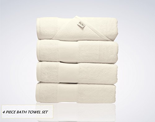 Lint Free 4 Piece Turkish Shower Bath Towel Set Clearance Prime Bathroom (Bulk Pack of 4) 700 GSM Quick Dry Off Premium Cotton - Spa Hotel Quality Luxury Reserve Designer 2018 Collection Bundle Beige