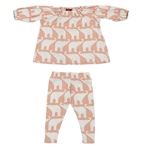MilkBarn Infant and Toddler Organic Cotton Dress and Legging Set - Rose Elephant (6-12 Months) ()