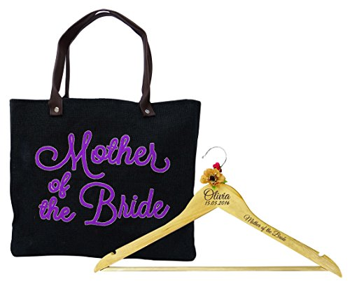 Personlaized Gifts - Mother Of The Bride Jute Bag With Personlaized Name Engraved Wooden Hanger Wedding Favor Thank You Gift