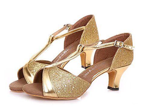Peep Women Comfy Mid golden Heeled Strap Wedding T Shoes Dance Toe Party Sandals Tango w5wrp