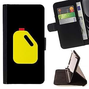 Momo Phone Case / Flip Funda de Cuero Case Cover - Petróleo Racing frasco amarillo Arte Negro - Motorola Moto E ( 1st Generation )
