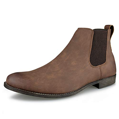 Hawkwell Men's Formal Dress Casual Ankle Chelsea Boot, Brown Manmade, 13 M US