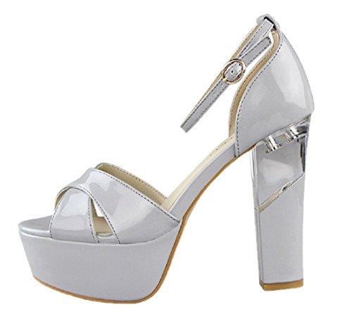 Platform Sandales Toe Mariage Boucle Peep D'Orsay Femmes Gris HooH Ixvqw4PRaW