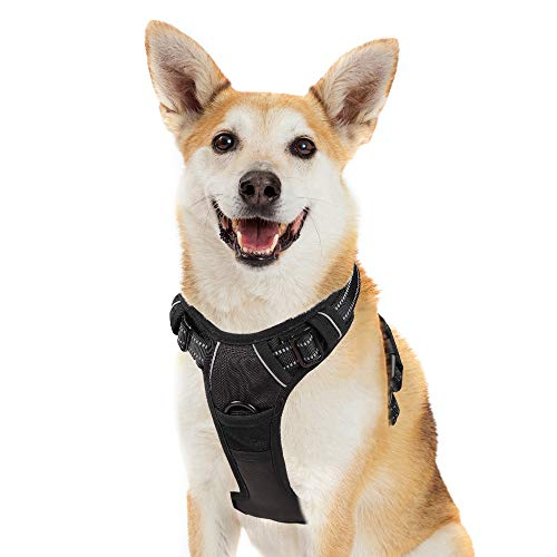 No-Pull Dog Harness Adjustable Pet Vest Harnesses for Large Breeds, Escape Proof Easy Control with Handle & 2 Metal Leash Clips, Comfortable Padded & Reflective Strips for Safe Walk (XL, Black)