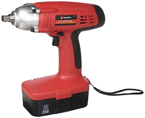 GreatNeck 24 Volt Cordless 1/2 Inch Impact Wrench with 2 Batteries
